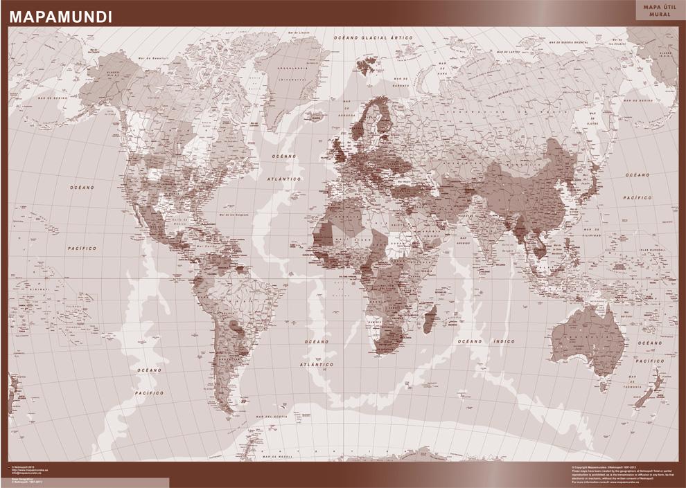 mapa mundo sepia